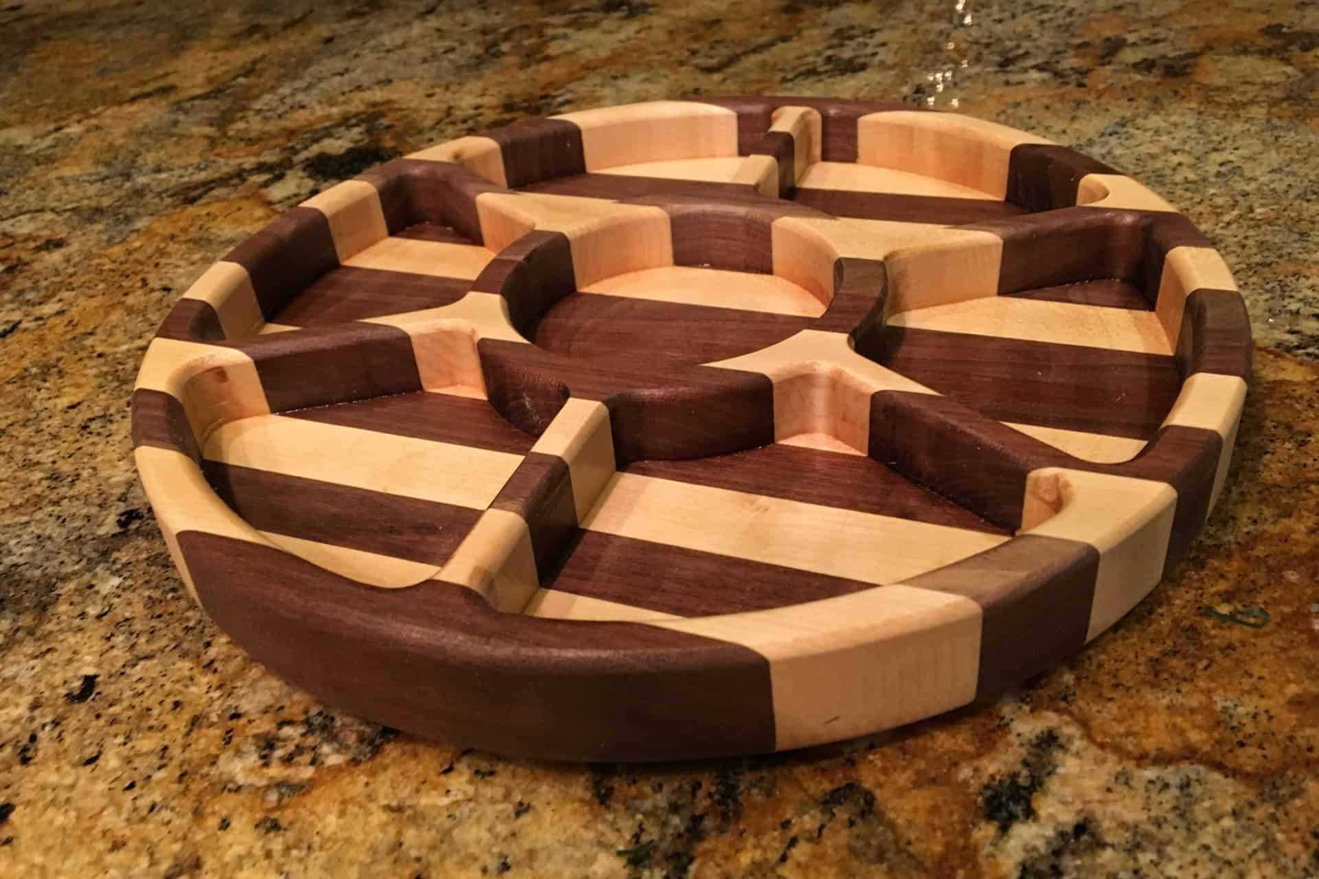 wooden party serving tray