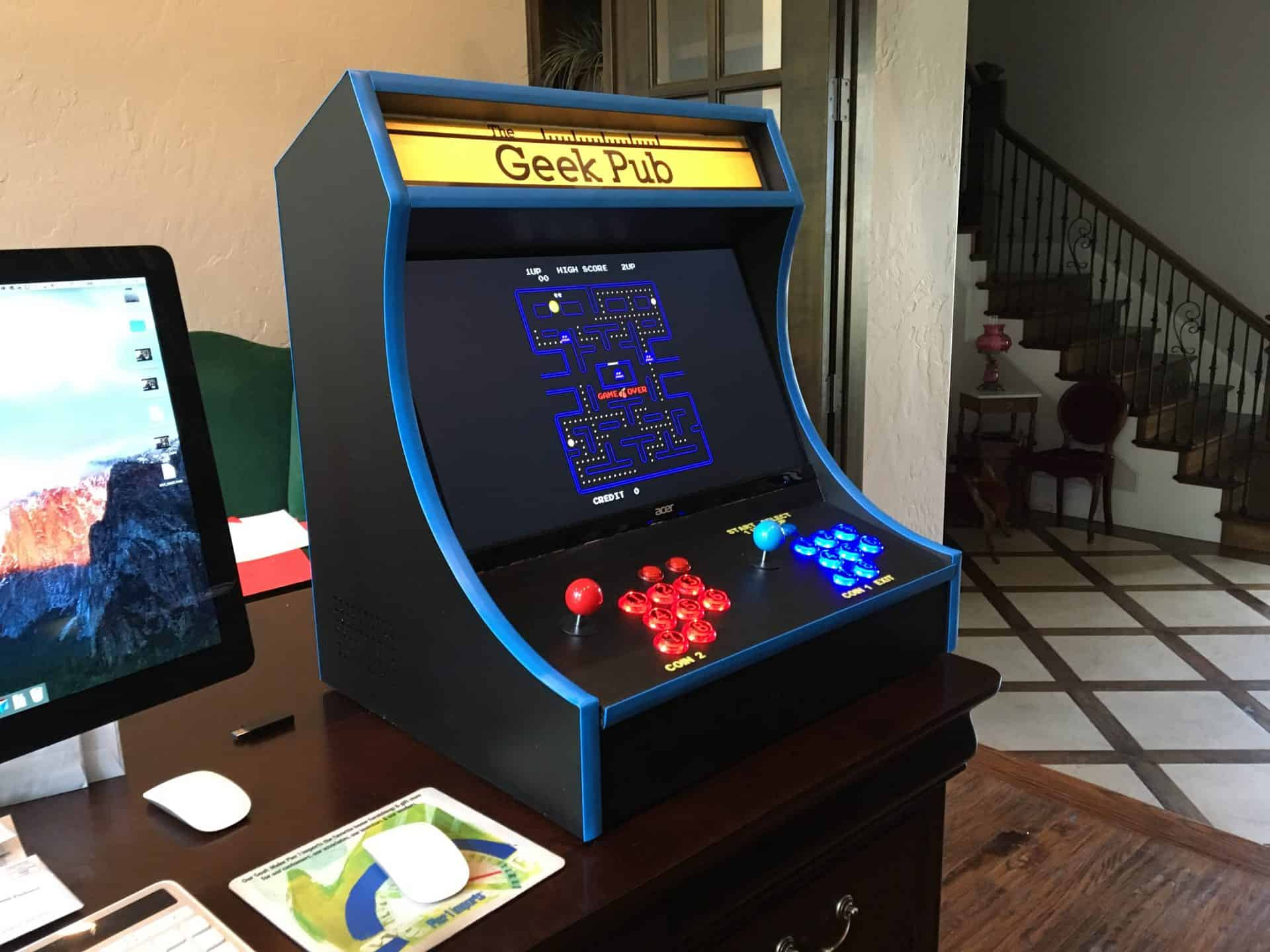 Build a retropie bartop arcade cabinet the geek pub finished bartop arcade cabinet 0002 malvernweather Gallery