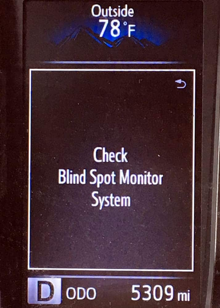 check blind spot monitor system toyota the geek pub. Black Bedroom Furniture Sets. Home Design Ideas