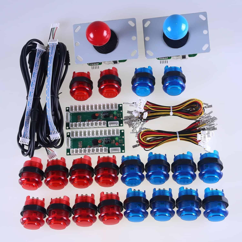 Easyget Arcade Controller Usb Encoder The Geek Pub Sanwa Joystick Wiring Diagram Control Kit 2 Player Led Red Blue