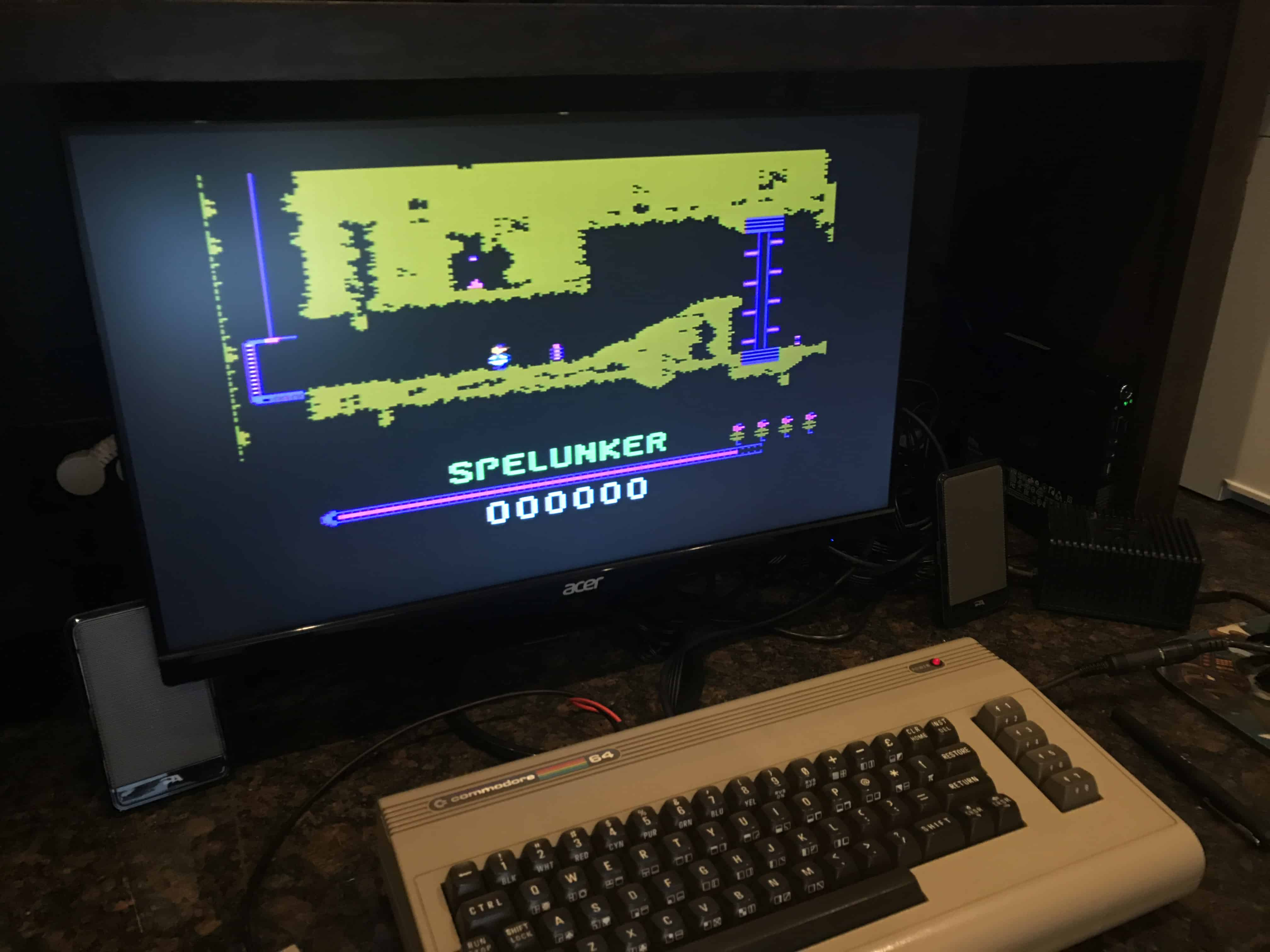 In my case I am playing Spelunker one of my all time favorite C64 games even if it was ridiculously hard to win