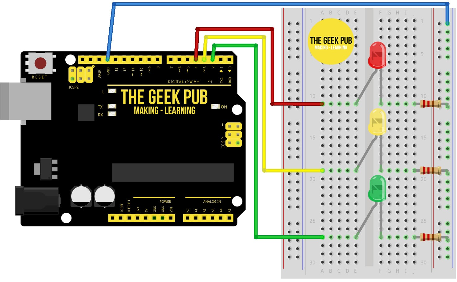 Arduino Traffic Light Tutorial Wiring Diagram