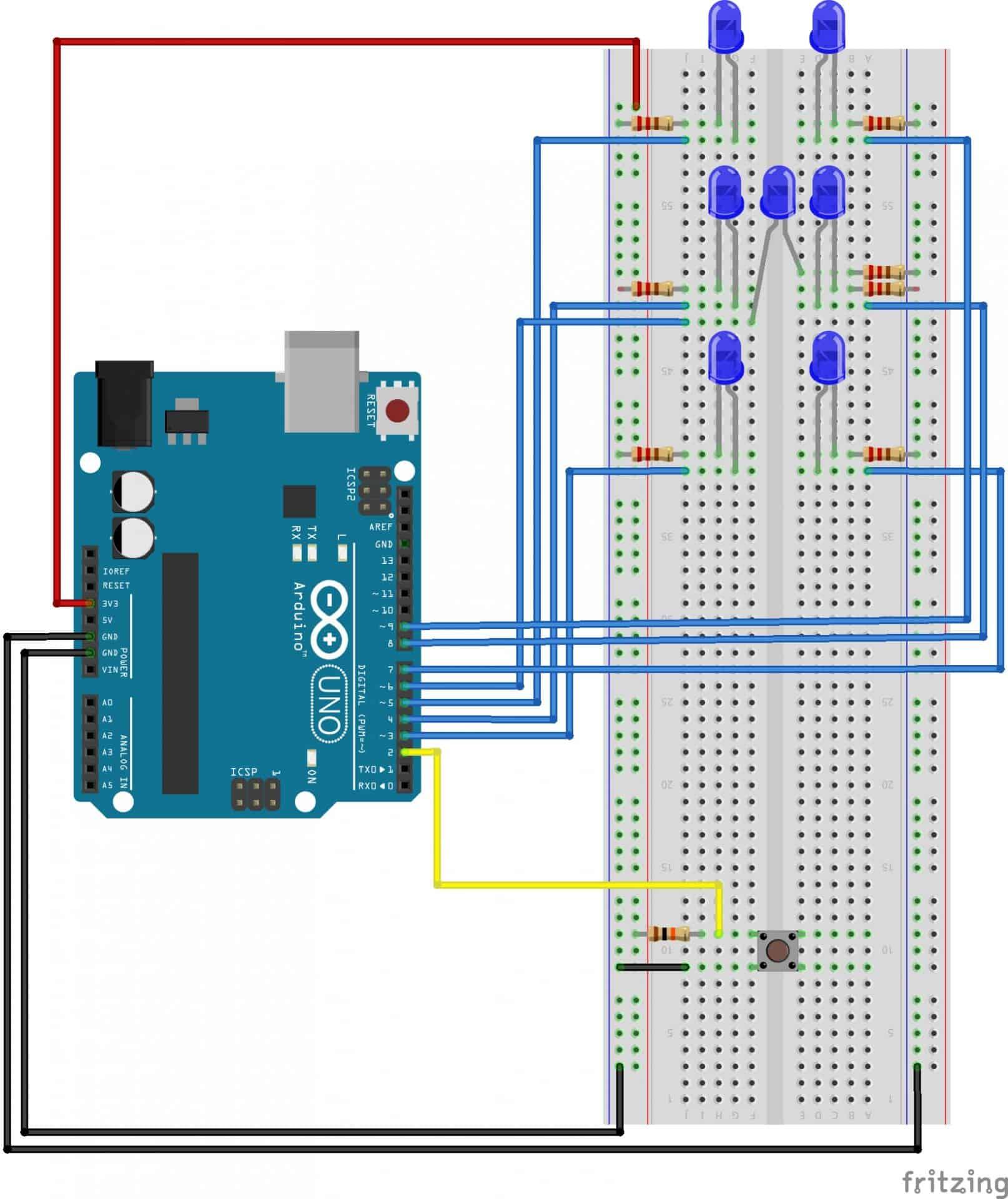 Easy Arduino Dice Circuit - The Geek Pub