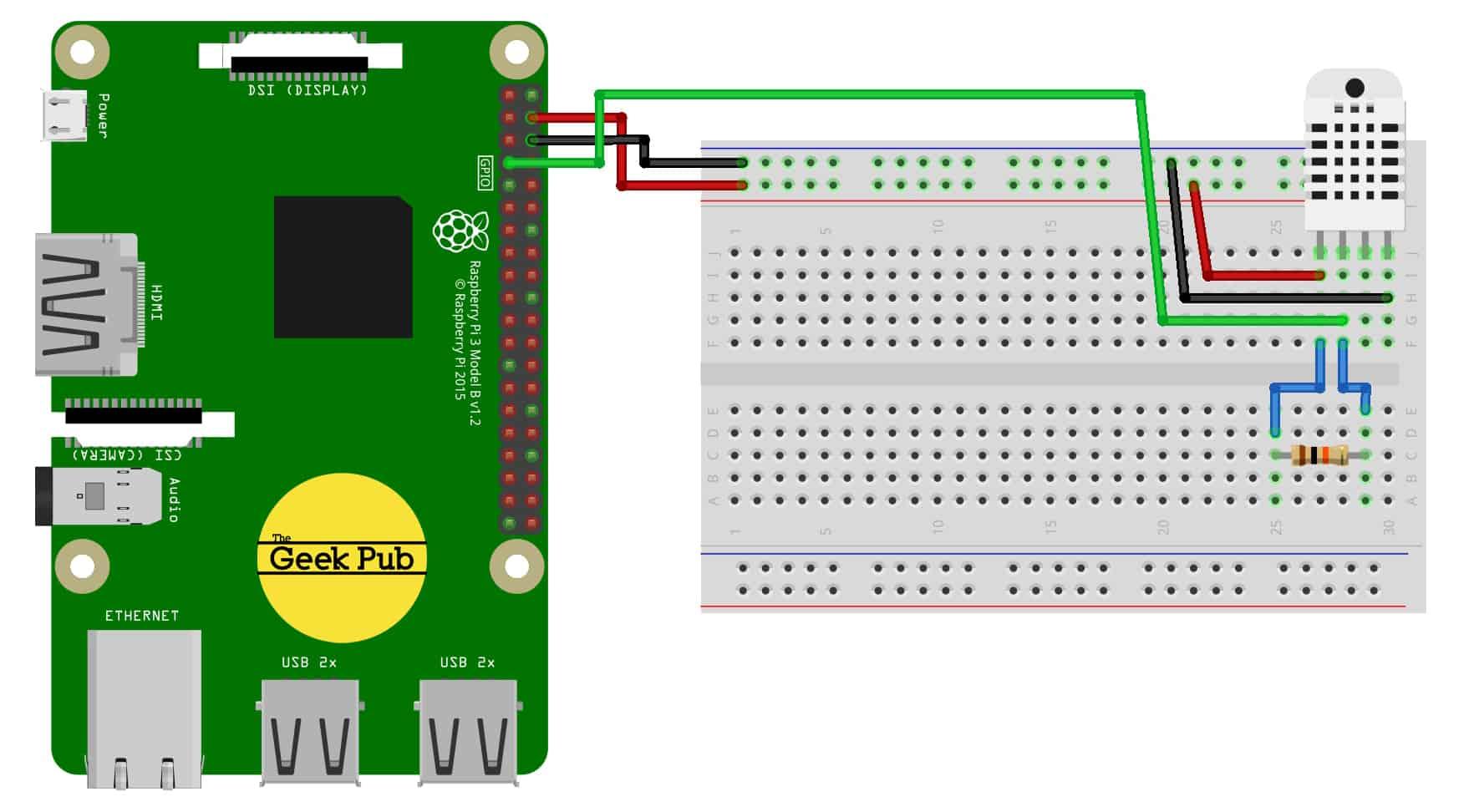 Stupendous Using The Dht11 Temperature Sensor With The Raspberry Pi The Geek Pub Wiring Database Ilarigelartorg