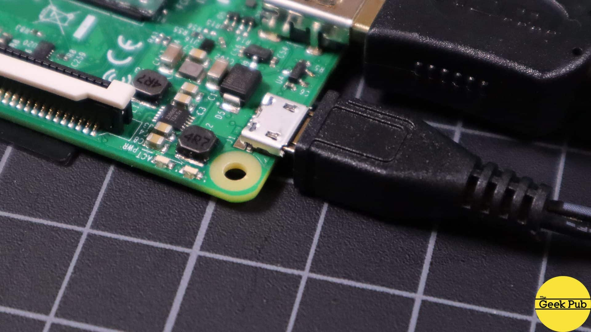 connect the micro USB power cable