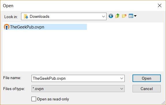 import .ovpn file