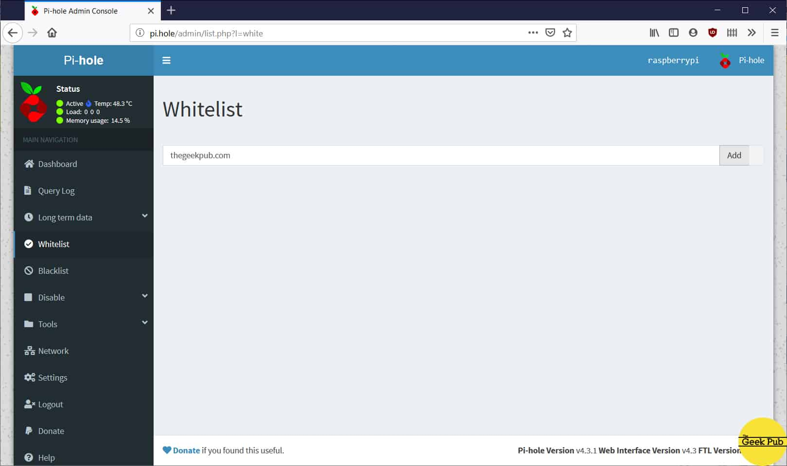 whitelisting sites