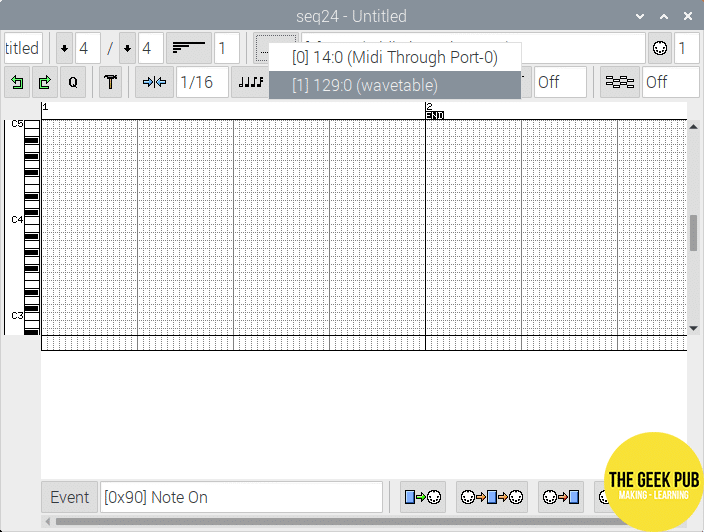 Connecting Seq24 to the MIDI Port