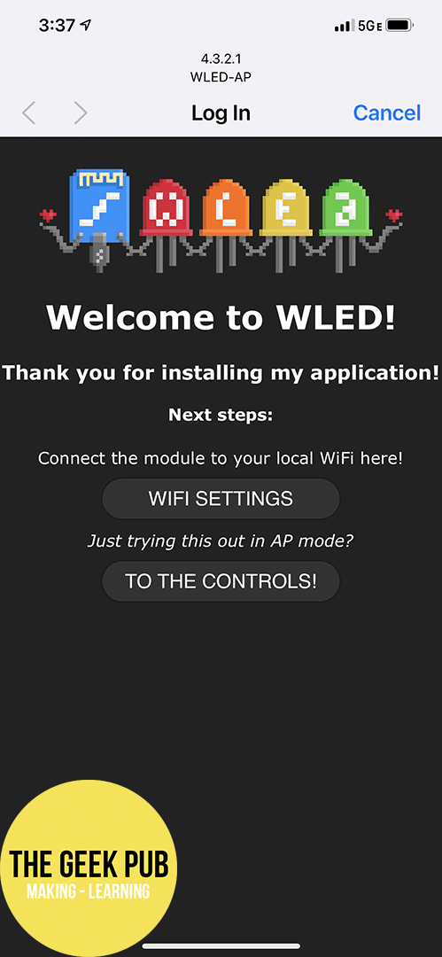 WLED Welcome Screen