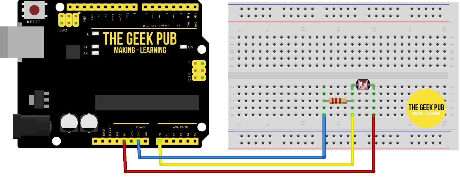 Arduino Light Sensor Tutorial - Wiring