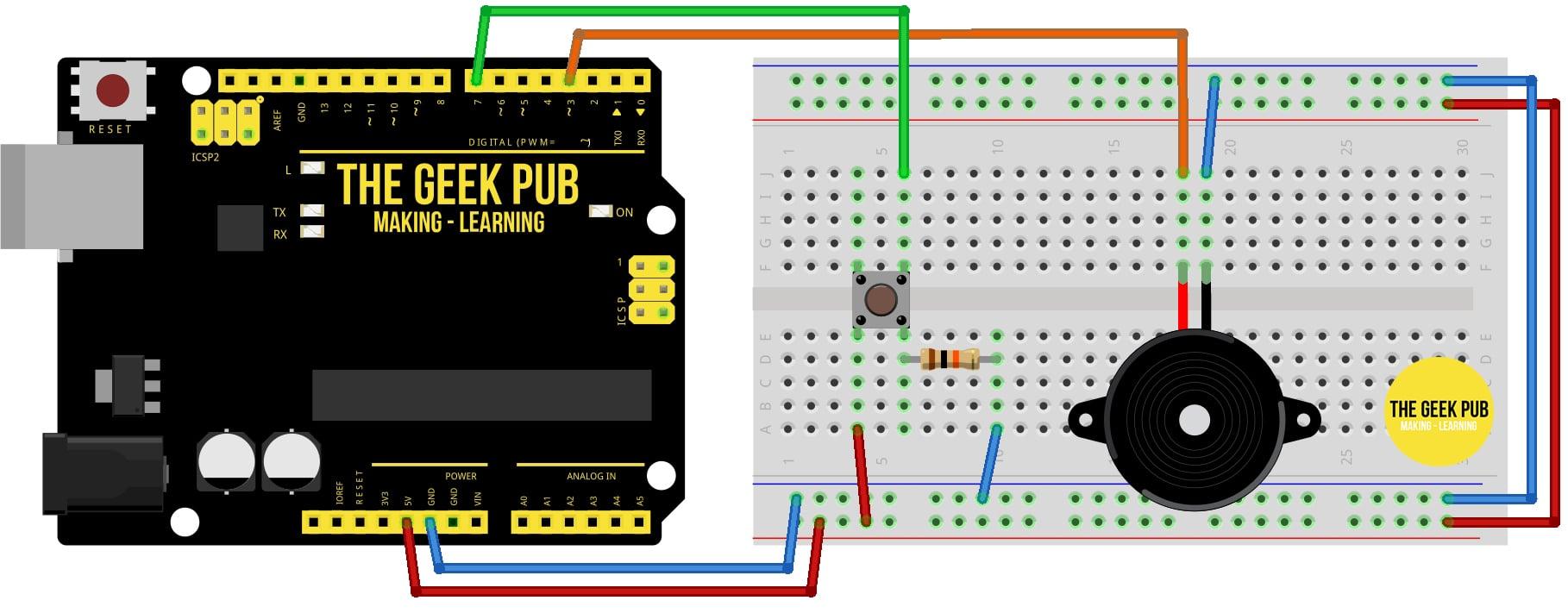 Arduino Control a Piezo Buzzer with a Button