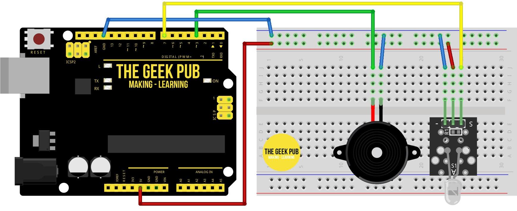 Use a motion sensor to control a piezo buzzer wiring diagram