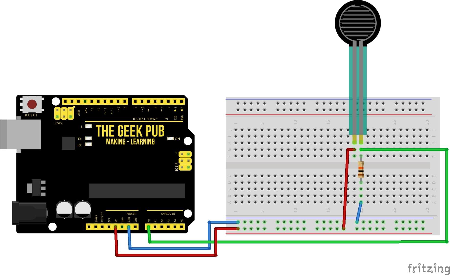Arduino Force Sensor Basic Wiring Diagram