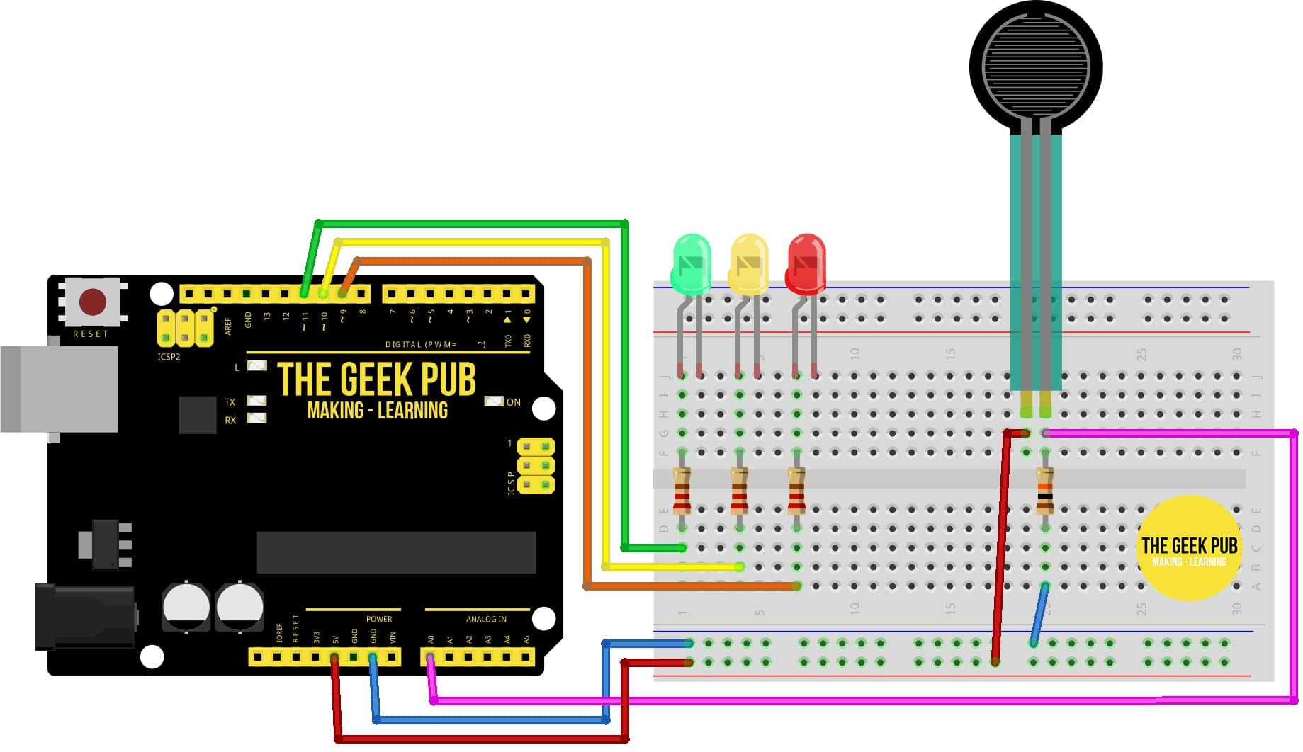 Arduino Force Sensor Wiring Diagram with LEDs