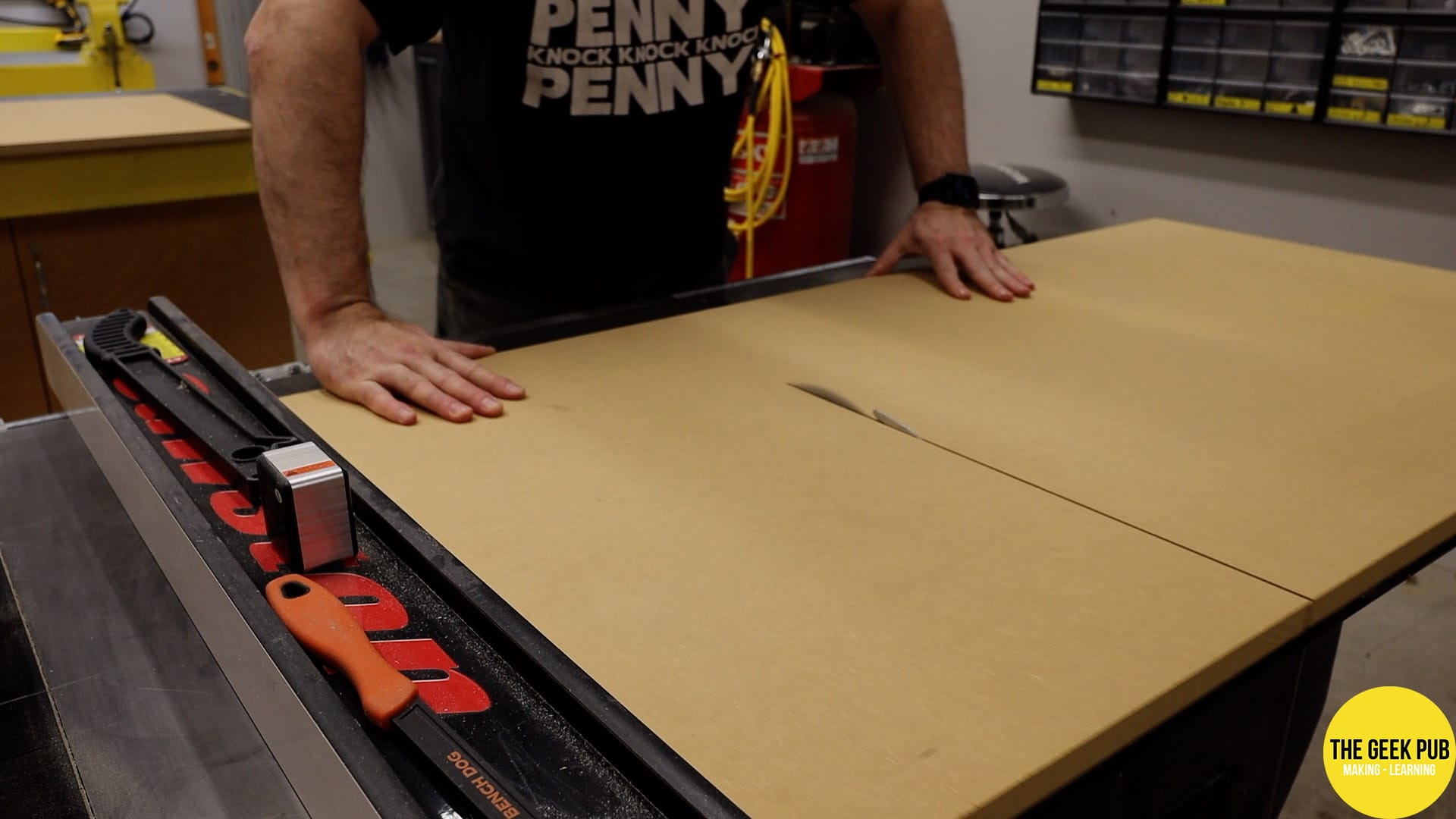Cutting down the parts on the table saw